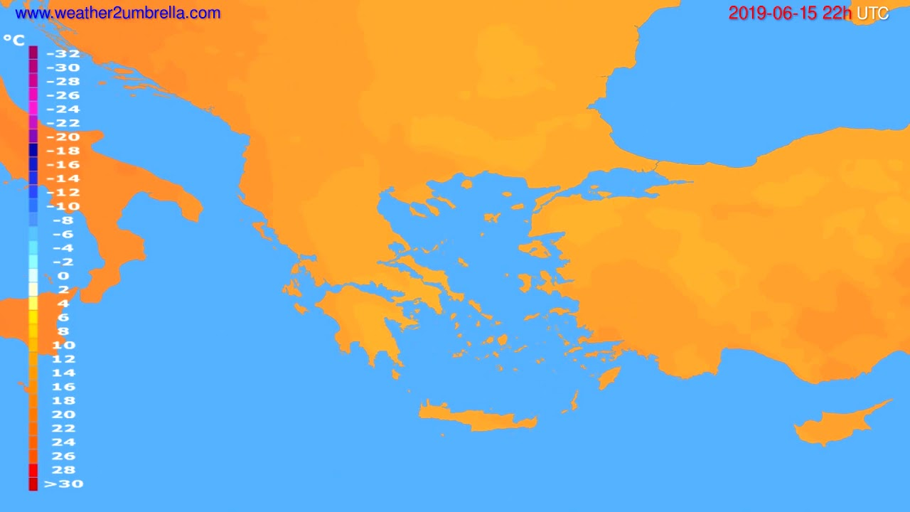 Temperature forecast Greece // modelrun: 00h UTC 2019-06-13