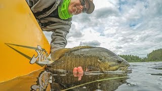 "Epic dad fishing battle of 2017! This is father vs son family fishing challenge for smallmouth bass on the clear water of Rainy Lake. The fishing challenge is to use all fishing skill to be the first to catch 10 smallmouth bass by kayaking into the fishing sanctuary a few miles away. First one to 10 wins the competition, but the loser will have to eat a night crawler worm. FISHING RODS USEDFavorite Phantom 6'6"" Medium Heavy Casting (Chatterbait)Favorite Phantom 6'6"" Medium Heavy Spinning (Tubes)http://bit.ly/PHANTOMRODANGLR TRACKER APP DOWNLOADAPPLE - http://bit.ly/AnglrTrackeriTunesANDROID - http://bit.ly/AnglrTrackerGoogle GET OFFICIAL FISHING FREAK GEAR HEREhttp://bit.ly/LFGMERCHLISTEN TO THE PODCASThttp://bit.ly/HOOK-ARROWSNAPCHAT - LakeForkGuyINSTAGRAM https://www.instagram.com/lakeforkguyFACEBOOK https://www.facebook.com/lakeforkguyABOUT LFGJustin Rackley, known as Lakeforkguy in the fishing world, creates fishing and outdoor videos on youtube and other social platforms.  LFG provides fishing tips and techniques for mostly largemouth bass fisheries but also travels to other freshwater and saltwater fishing spots to explore new fish species and fishing techniques to show as many fishing places as possible and help you catch more fish.  Lakeforkguy likes to hang out on any fishing vessel or go bank fishing with his other YouTube Fishing friends and vlog with his Wife Stephanie and french bulldog Winston.---------------------------------------------------GEAR----------------------------------------------------CAMERASDSLR Camera (Panasonic GH5) - http://amzn.to/2a6frQEStatic Shot (Gopro Hero 4 Black) - http://amzn.to/2aiE4wQMetabones Speedbooster 4/3 EF Mount - http://amzn.to/2aoWey0CASESWaterproof Travel Case For My DSLR and Lenseshttp://amzn.to/2kLIOjiMetal Gopro Case with Filtershttp://bit.ly/GoProMetalCaseCheap GoPro Travel Casehttp://amzn.to/2kk30ugLENSESCanon 24-105mm L Lens - http://amzn.to/2a6fNqxRokinon 14mm WIDE - http://amzn.to/2aJRmkSAUDIOSony UWPD11/42 Lavalier Microphone - http://amzn.to/2afp1jHGopro Chesty Lav Mic (Cheap) - http://amzn.to/2azAMo1DSLR Shot Gun Mic - http://amzn.to/2anoJh9"
