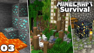 Let's Play Minecraft Survival : DIAMONDS, Animal Pens, Mob Spawner! Episode 3
