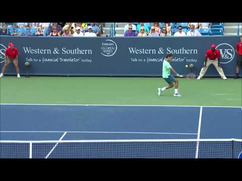 Shot - Roger Federer stealthily executes this half-volley Hot Shot against David Ferrer in the Cincinnati final. Watch live matches at http://www.tennistv.com/