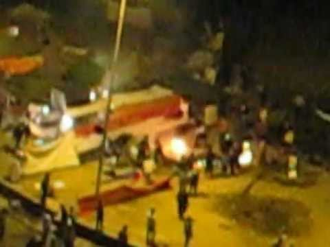 tahrir tents - A fight has resulted in the eventual burning of a part of the big tent that was in middle of the square. April 4, 2012 @ 20.45.