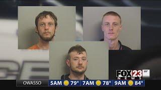 Three burglary suspects were arrested.