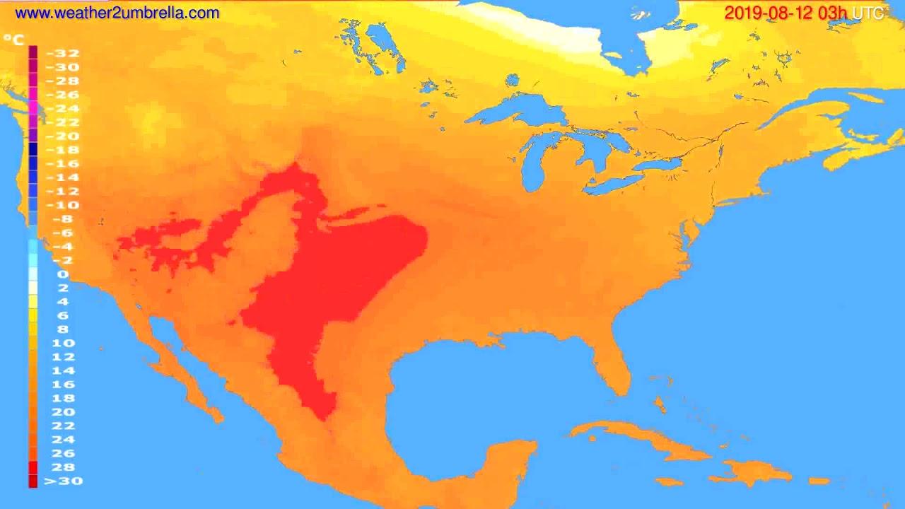 Temperature forecast USA & Canada // modelrun: 00h UTC 2019-08-09