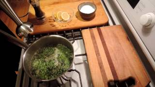 How to Cook Pea Soup with Mint - Episode 95IngredientsFrozen Peas - 1 Lb - (400g) (or fresh if you want!)Mint - Fresh - 1/2 cup choppedChicken Stock - 1q (1L) (or veggie stock)Lemon - 1/2 to 1 lemon squeezedGarlic - 2 or 3 cloves smashedExtra Virgin Olive Oil - 1-2 TKosher Salt and Pepper to tasteCreme Fraiche to taste (or use sour cream or a little heavy cream)HardwareStick Blender! (otherwise let cool a bit and blend in food processor)Add peas, garlic, mint, stock to a pot.Cook for 15-30 minutes.Blend with stick blender, or let cool and use blender or food processor.Season with kosher salt, pepper and lemon juice.Serve with fresh mint leaves, creme fraiche, and a few drops of EVOO.