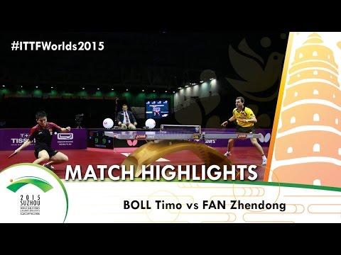WTTC 2015 Highlights: BOLL Timo vs FAN Zhendong (1/4)