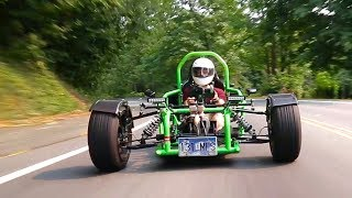 What's up you guys?! So Adam's custom AMT3 Trike powered by a Kawasaki Ninja 900r motor has got to be the most insane ...