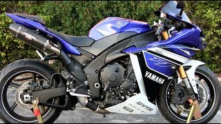 4. 2013 Blue Yamaha YZF-R1 Walkaround - Carbon Fiber Yoshimura Exhaust Sound - Yamaha R1 Walk Around