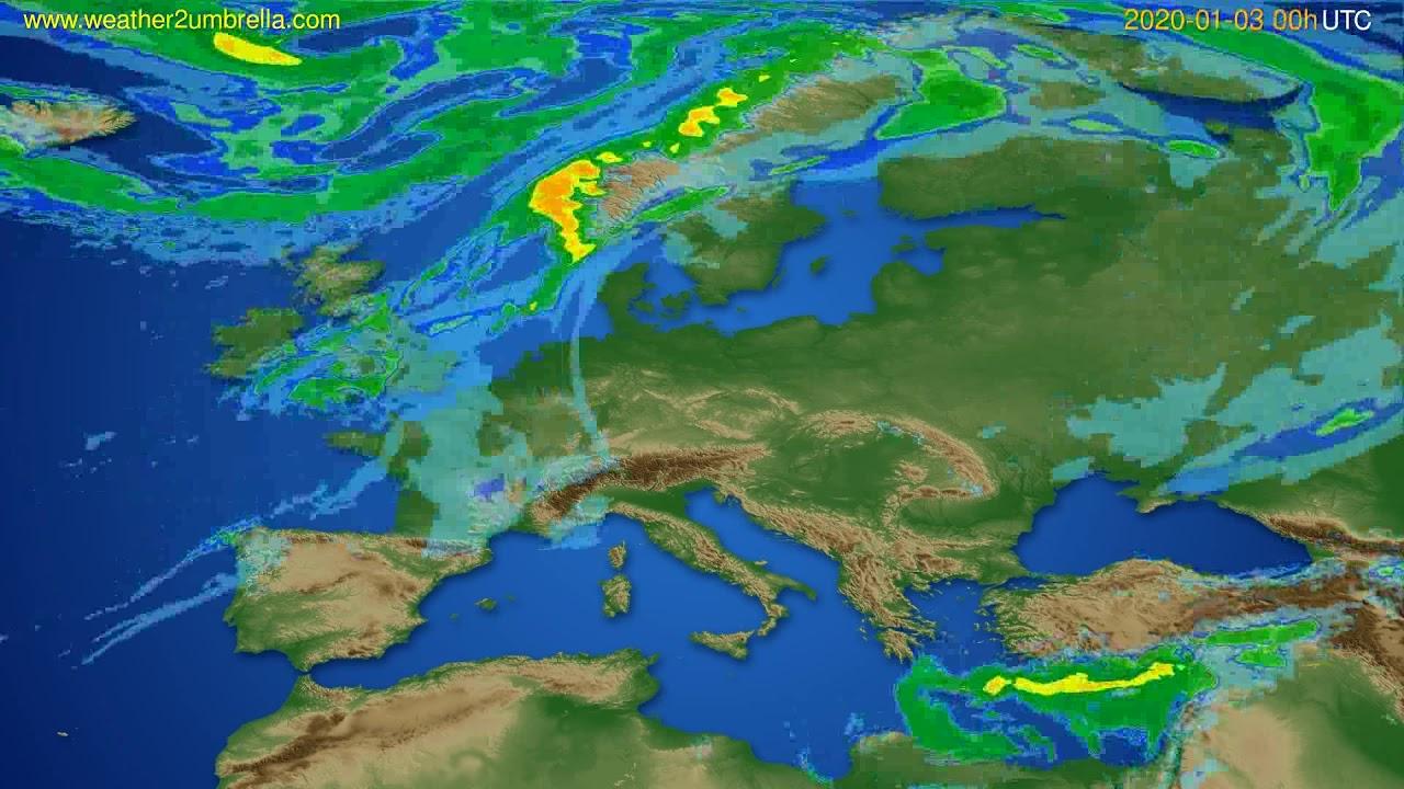 Radar forecast Europe // modelrun: 12h UTC 2020-01-02