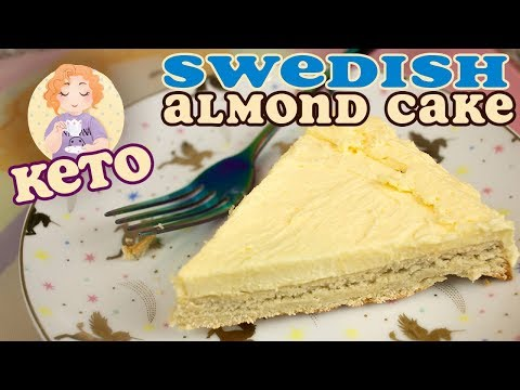 Atkins diet - Keto Cake Swedish Almond with Low Carb Sugar Free Custard Icing (Ikea Daim Cake)