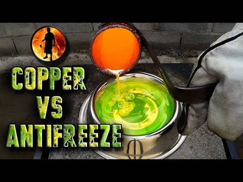 Molten Copper Mixed With Antifreeze Makes A Swampy Fiery