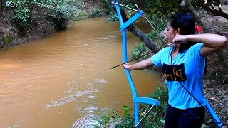 Hi! This Is Video I Want To Show You About Amazing Girl Uses PVC Pipe Compound BowFishing To Shoot Huge Fish -Khmer ...