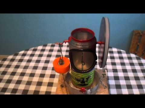 moteur vapeur - mon 2eme petit moteur 'stirling' fait avec une canette...