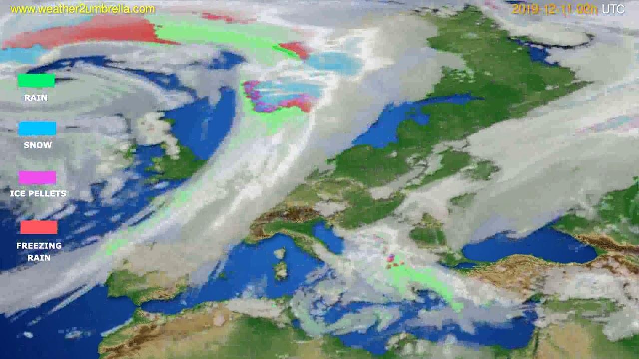 Precipitation forecast Europe // modelrun: 00h UTC 2019-12-10