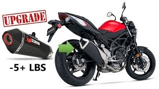 10. Suzuki SV650 Scorpion Exhaust Upgrade with Weight and Sound Comparison
