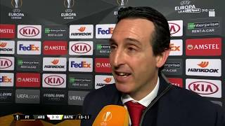 Unai Emery speaks to BT Sport after Arsenal defeat BATE in the Europa League