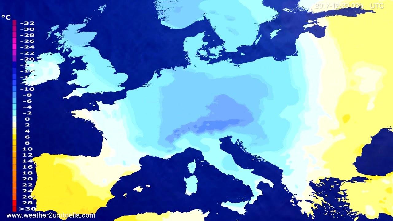 Temperature forecast Europe 2017-12-26