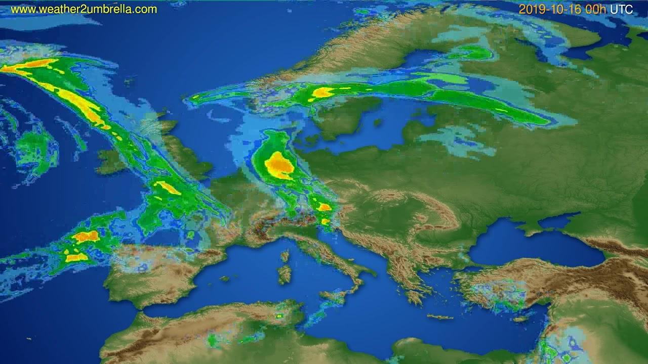 Radar forecast Europe // modelrun: 12h UTC 2019-10-15