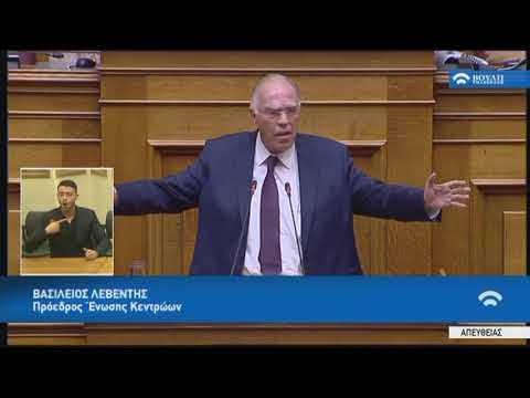 Β.Λεβέντης(Πρόεδρος Ένωσης Κεντρώων)(Πρόταση δυσπιστίας κατά της Κυβέρνησης)(16/06/2018)