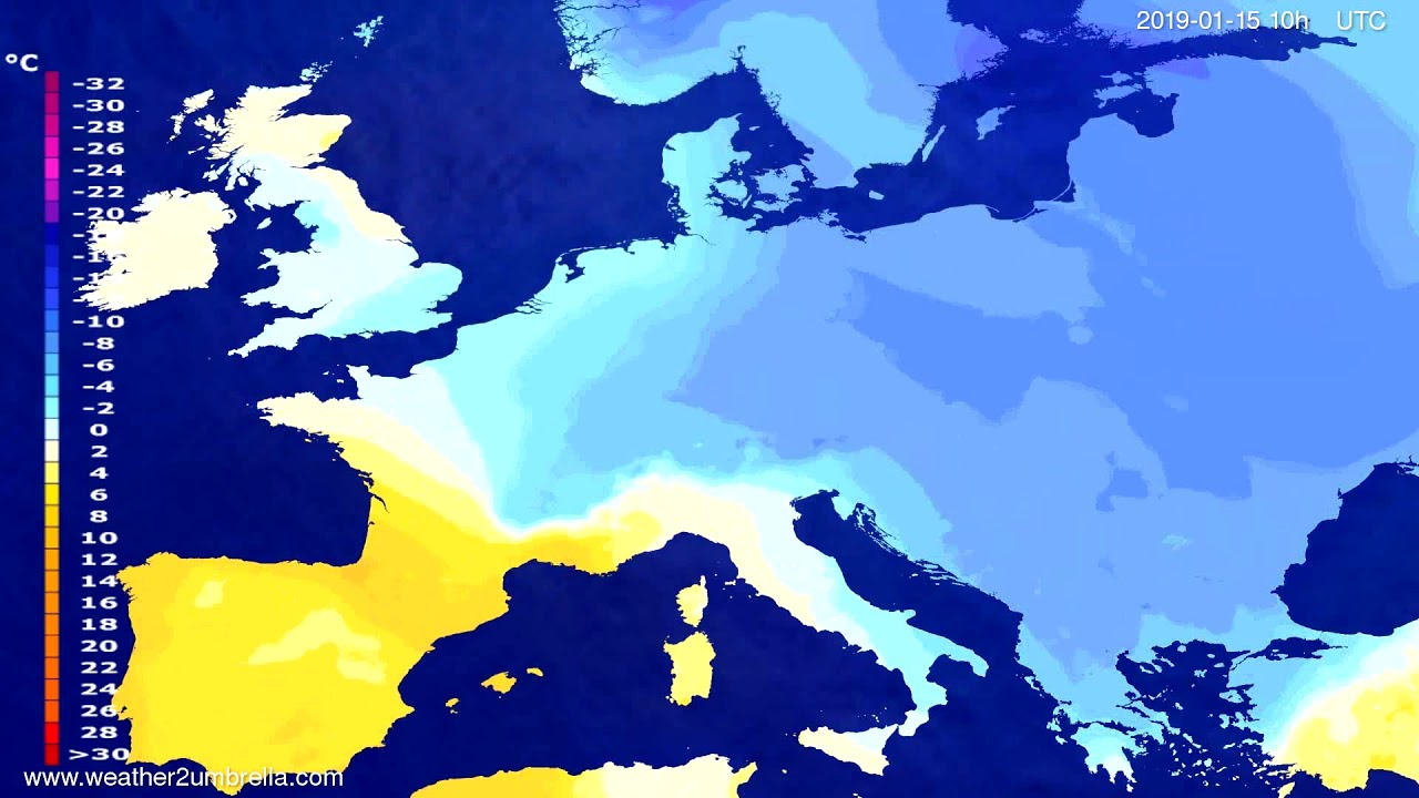 Temperature forecast Europe 2019-01-12