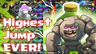"Clash Of Clans ""HIGHEST JUMP EVER!!"" (Golem super-jump)"
