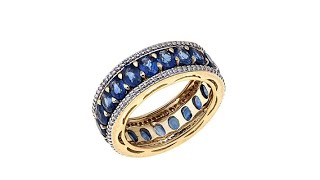 Lance Fischer Laos Sapphire and Diamond 14K Band Ring