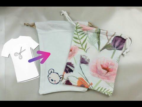 sacchetto - pouch bag riciclando una vecchia t-shirt