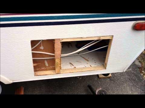 popuptrailer - Storage / Baggage door installation into popup trailer / tent trailer. I acquired this door from a scrap yard.