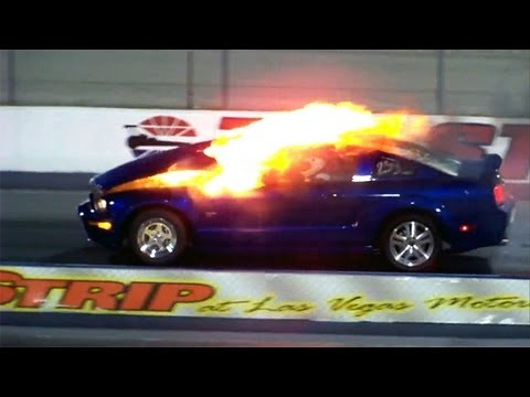 Mustang explodes before drag race