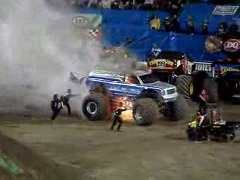 MONSTER TRUCK FIRE!! VERY EXCITING,  MUST SEE!!!