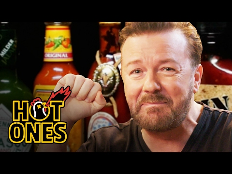 Ricky Gervais Pits His Mild British Palate Against Spicy Wings | Hot Ones видео
