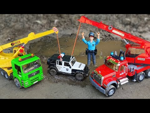 Police Cars, Excavator, Crane Truck Kids Toy Vehicles