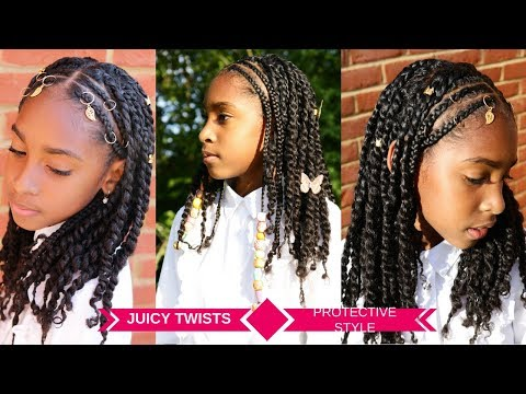 Braid hairstyles - KIDS HAIRSTYLES FOR GIRLS  PROTECTIVE TWISTS & BRAIDS TUTORIAL