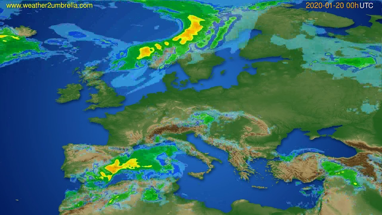 Radar forecast Europe // modelrun: 12h UTC 2020-01-19
