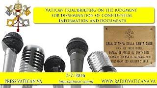 Lettura Sentenza del Processo in Vaticano per divulgazione documenti riservati