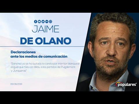 """De Olano: """"Sánchez ya se ha quitado la careta por intentar blanquear, al igual que hizo con Bildu, a los partidos de Puigdemont y Junqueras"""""""