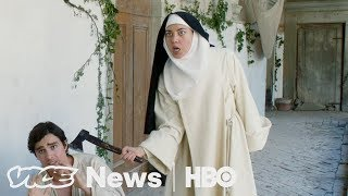In The Little Hours, an indie comedy released this month, foul-mouthed, nymphomaniac nuns run wild in a modern-day take on medieval times. The film is based on a story from The Decameron, a 14th century Italian classic about young people who hole up in a villa to avoid the bubonic plague, but it was inspired by a night watching Dog TV. Director Jeff Baena and star Aubrey Plaza....can explain.Subscribe to VICE News here: http://bit.ly/Subscribe-to-VICE-NewsCheck out VICE News for more: http://vicenews.comFollow VICE News here:Facebook: https://www.facebook.com/vicenewsTwitter: https://twitter.com/vicenewsTumblr: http://vicenews.tumblr.com/Instagram: http://instagram.com/vicenewsMore videos from the VICE network: https://www.fb.com/vicevideo