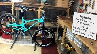After riding the Evil Calling for a while it needs some love. We'll be removing Bottom Bracket Squeaks, installing another Volume reducer in my Cane Creek Shock, Uninstalling the Cushcore so we can replace the valve stem and change the rim tape, as well as re-install the cushcore. Fixing BB Squeaks 12:00Installing Volume Reducer 55:37Uninstalling Cushcore 1:32:15Removing Gorilla tape reside  1:44:30Installing Stans Tubeless rim tape 2:40:55Cushcore Valve is too short 2:49:15Cuchcore Valve Hack  2:53:10Re-installing Cush Core 2:59:00Wrap up questions 3:18:00Patreon Community ▶︎ https://goo.gl/8SHpPFInstagram ▶︎https://www.instagram.com/philkmetz/Facebook ▶︎ https://www.facebook.com/philkmetz/Links of interestCush Core ▶︎ http://www.cushcore.com/ Tubeless Tire Plug Repair ▶︎ http://amzn.to/2rmVSw3Cheap tubeless tire inflator ▶︎ https://www.youtube.com/watch?v=bxNWiLQKxOsCushcore install ▶︎ https://www.youtube.com/watch?v=MEqohbAsNrU&t=8sZhiyun Rider M Gimbal http://amzn.to/2eOPv3Q