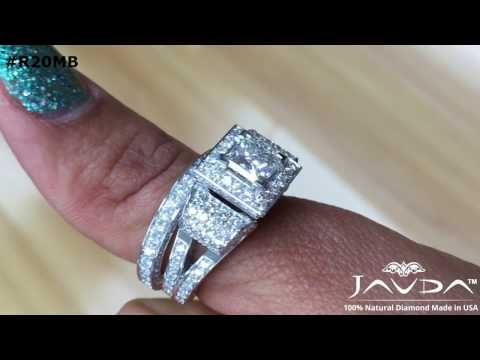 Javda Artistic Design Antique Princess GIA Diamond Halo Bridal Sets 14K White Gold Engagement Ring