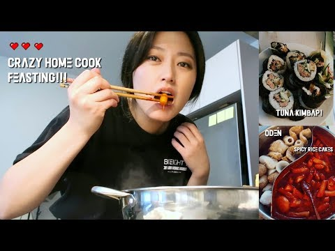 (mukbangvlog) Cooking FEAST At Home W. Spicy Rice Cakes+Xlarge Tuna Kimbap + Oden Soup Vlog!!