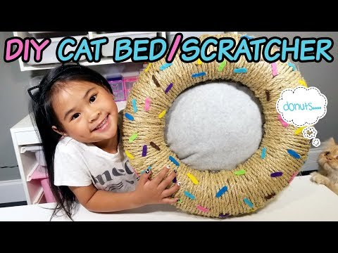 DIY Donut Cat Bed and Scratcher | No-Sew Cat Bed Tutorial | DIY Scratching Post