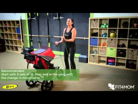"Build your bicep muscles while entertaining your kids with a workout version of ""Wheels on the Bus"". Then, increase your heart rate with your stroller as you side shuffle push it down the road."