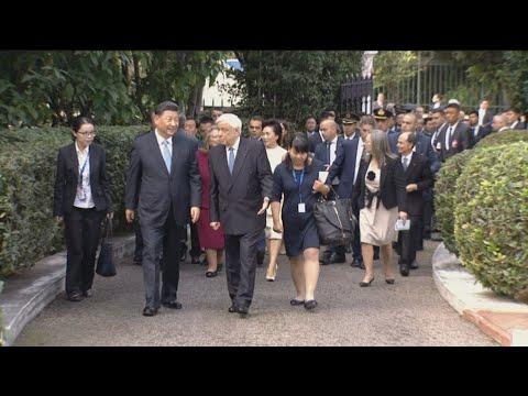 Πλάνα από την άφιξη και  εν συνεχεία,  αναχώρηση από  το Προεδρικό Μέγαρο του Προέδρου Σι Τζινπίνγκ
