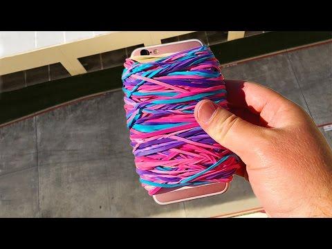 他將iPhone 6s用橡皮筋包裹的嚴嚴實實然後從屋頂扔下,最後拿掉橡皮筋之後後看到這樣一幕!
