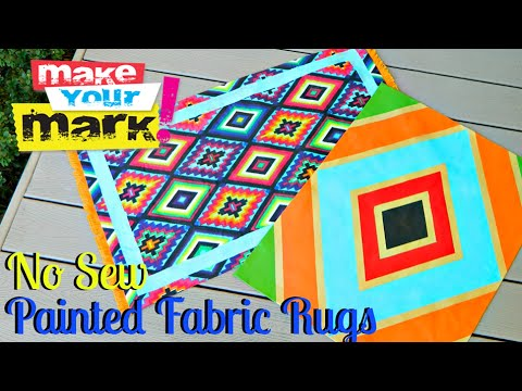 Painted Fabric Rugs DIY (No Sew)
