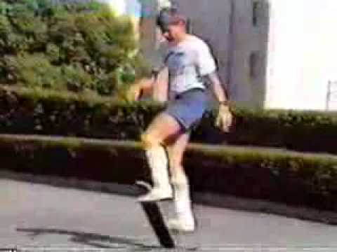 Rodney Mullen showing a skateboard who is boss