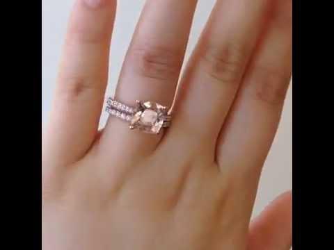 Taylor 9mm 14kt Rose Gold Cushion Morganite Wedding Set