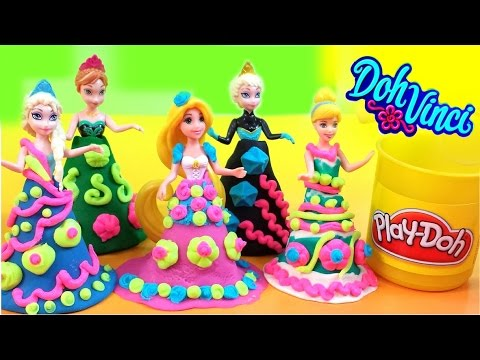 New Play-Doh DohVinci Design a dress Disney Frozen Elsa Anna Rapunzel Cinderella  MsDisneyReviews