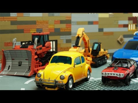 Transformers Bumblebee Movie Animation Robot Truck Lego Thieves ATM Fail & Police Chase Car