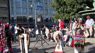 Native American performers in Gothenburg city, Sweden.