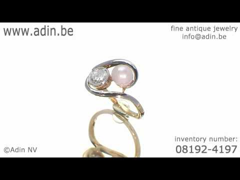 Elegant and romantic toi and moi Art Nouveau pearl and brilliant engagement ring (08192-4197)